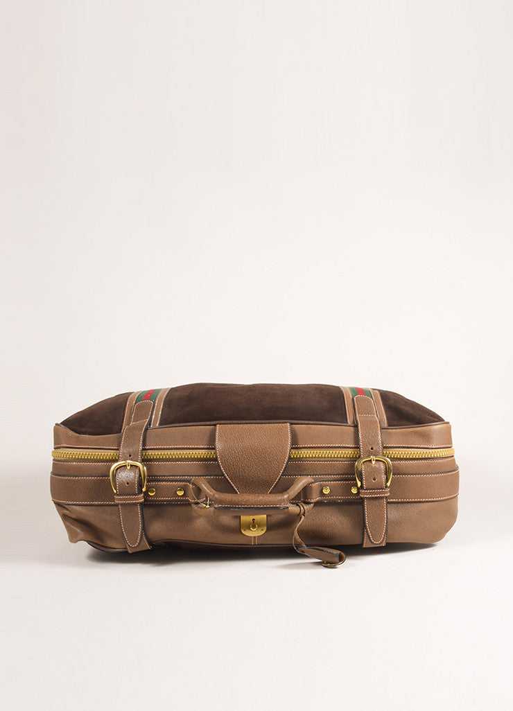 Gucci Brown Suede Leather Classic Striped Zip Around Luggage Bag Topview