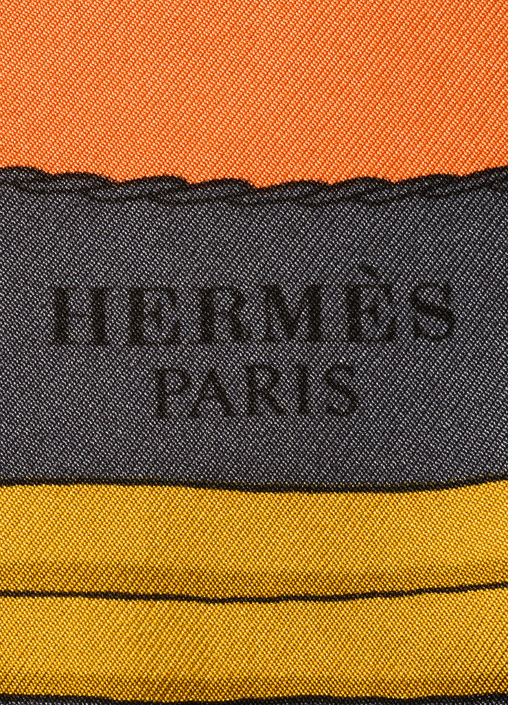 Hermes Orange and Multicolor Silk Twill Horse and Buggy Print Scarf Brand