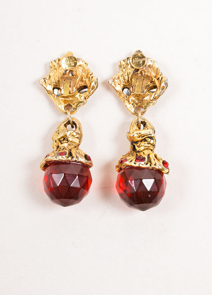 Kalinger Gold Toned and Red Beaded Statement Dangle Earrings Backview