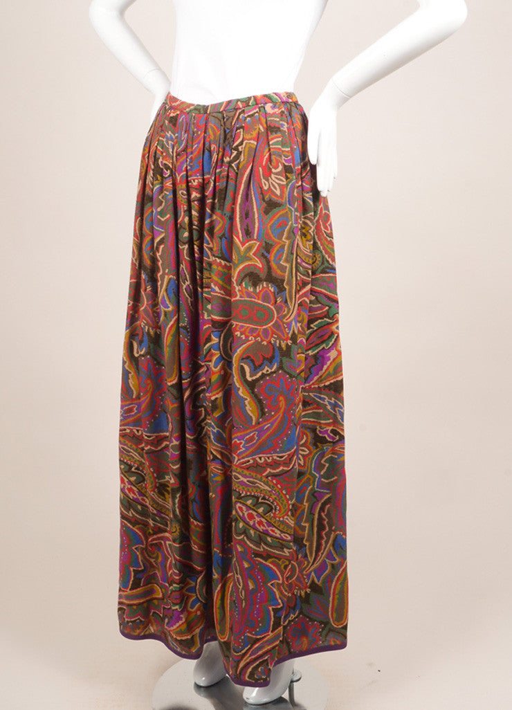 Lanvin Red, Blue, and Brown Floral Paisley Maxi Skirt Sideview