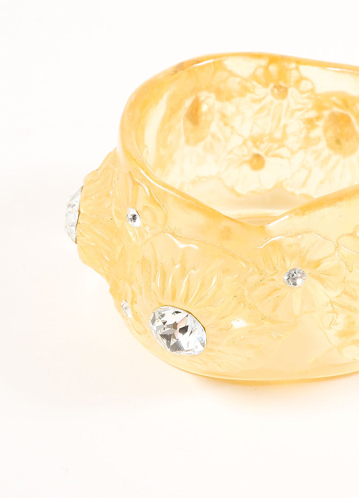 Vintage Yellow Lucite Translucent Rhinestone Wide Floral Bangle Bracelet Detail
