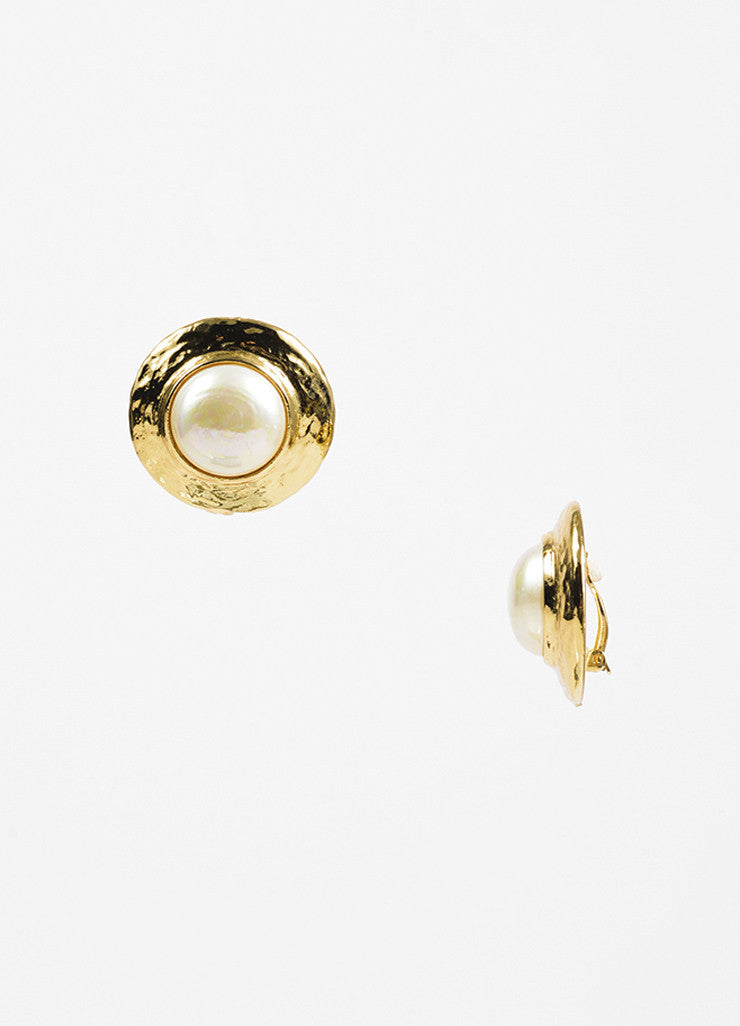 Yves Saint Laurent Gold Toned Metal and Faux Pearl Round Clip On Earrings Sideview