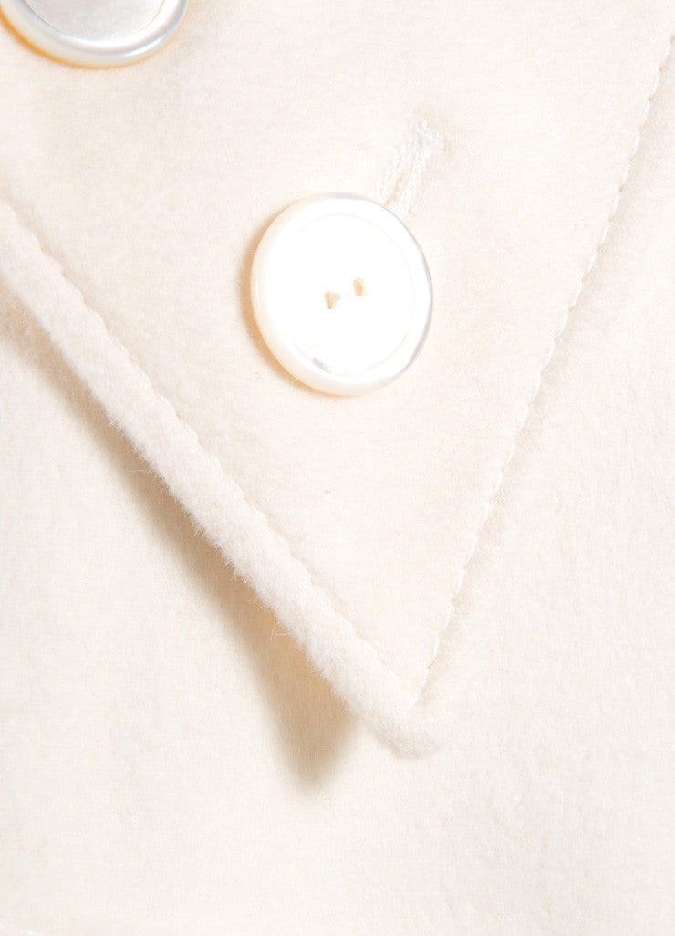 Valentino Cream Wool and Cashmere Open Front Cropped Swing Coat Detail
