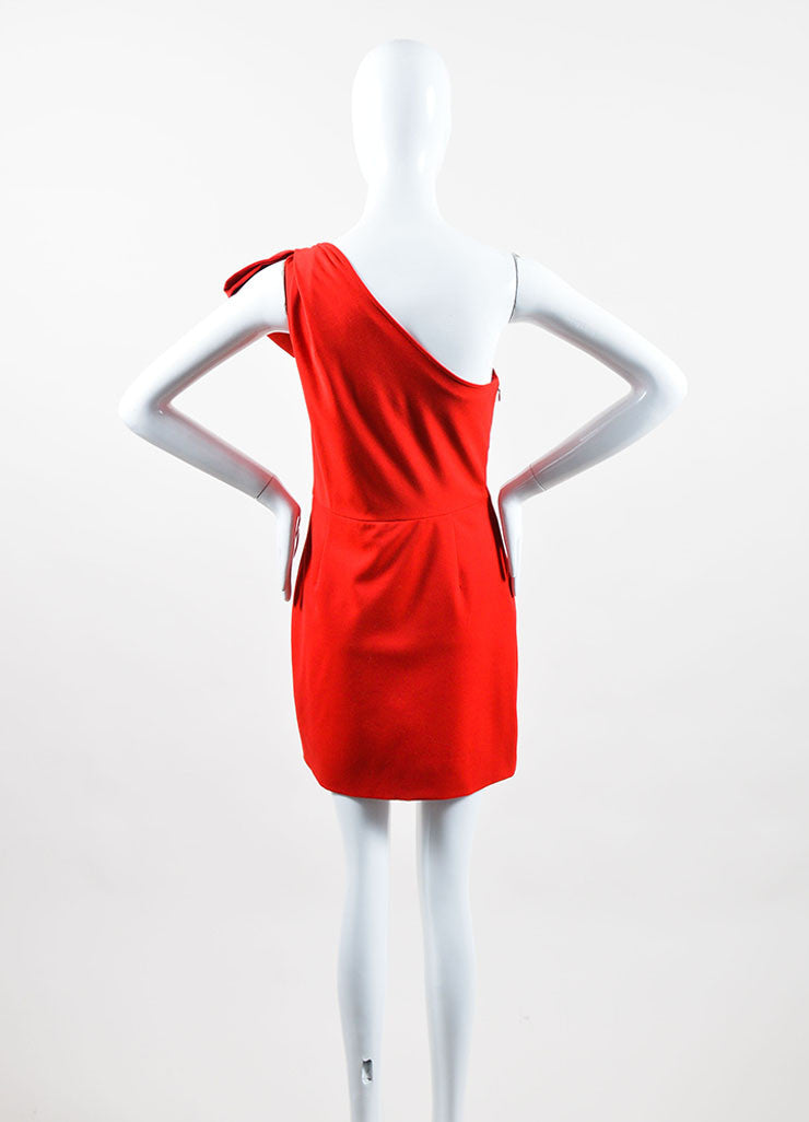 Red Woven Valentino Couture One Shoulder Short Dress Back