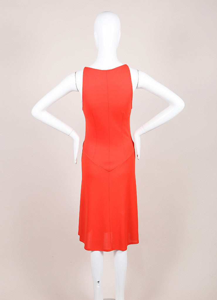 Valentino Roma Coral Orange Textured Jersey Knit Sleeveless Dress Backview