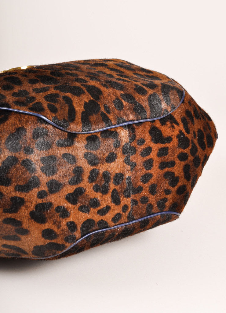 Versace Black and Brown Leopard Print Pony Hair Bowler Bag Bottom View
