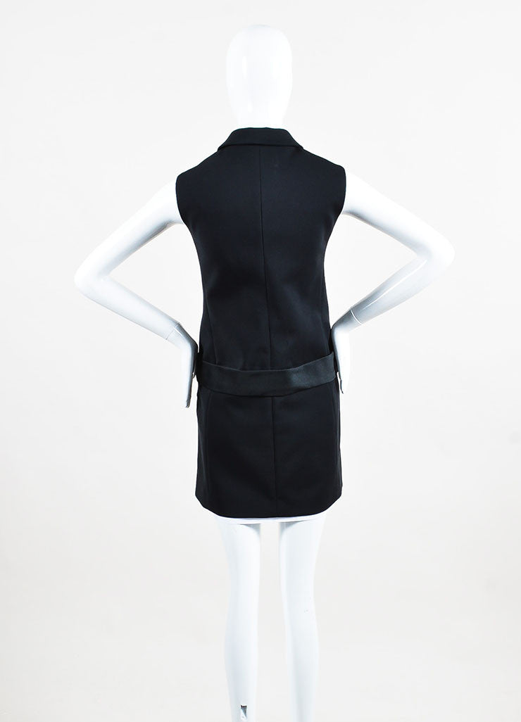 Victoria Victoria Beckham Black and White Cotton Button Up Layered Vest Dress Backview
