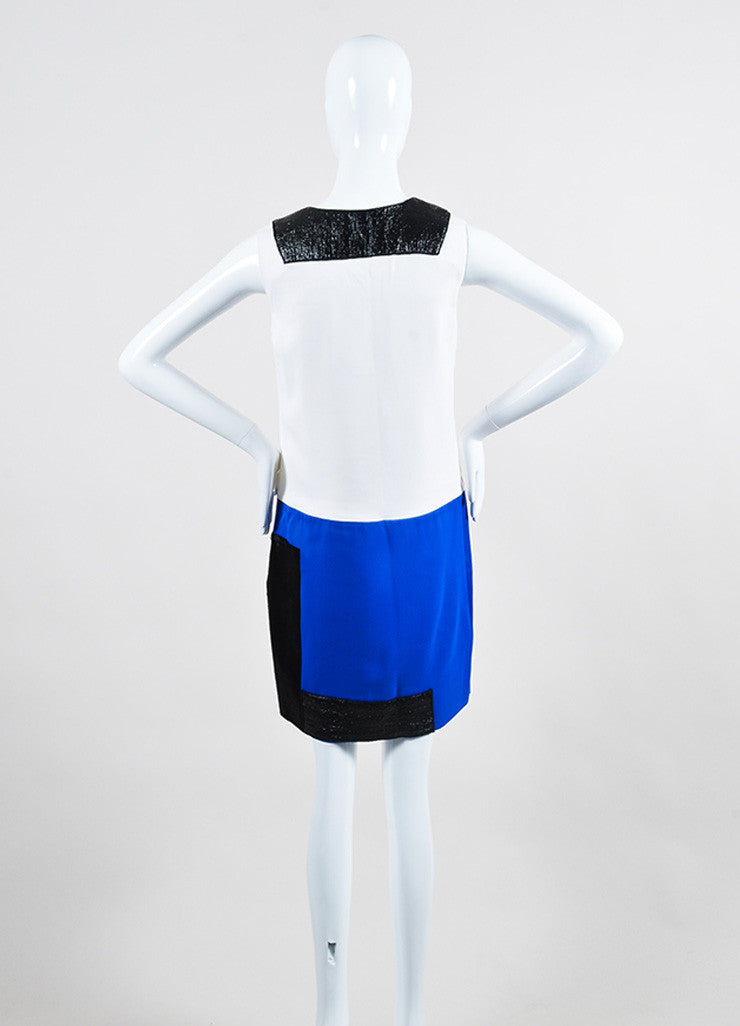 Victoria Victoria Beckham White, Blue, and Black Calf Hair Color Block Dress Backview