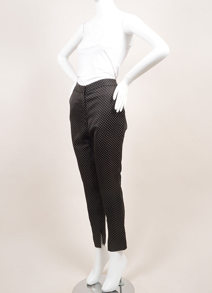 Wes Gordon New Black and Tan Dotted Skinny Trousers Sideview