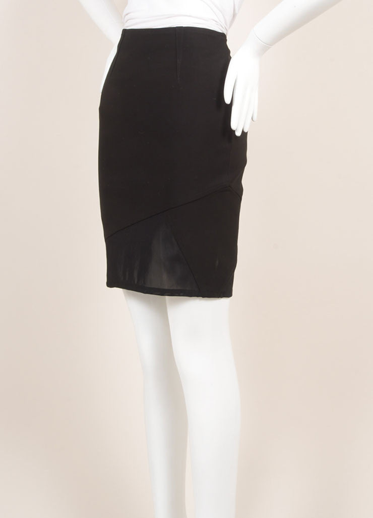 Yigal Azrouel New With Tags Black and Green Mechanical Stretch Paneled Pencil Skirt Sideview