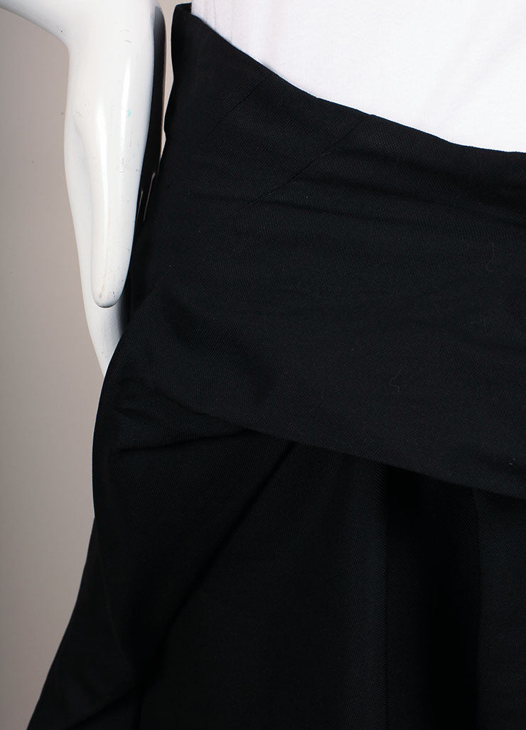 Yves Saint Laurent Black Silk A-Line Pleated Skirt Detail