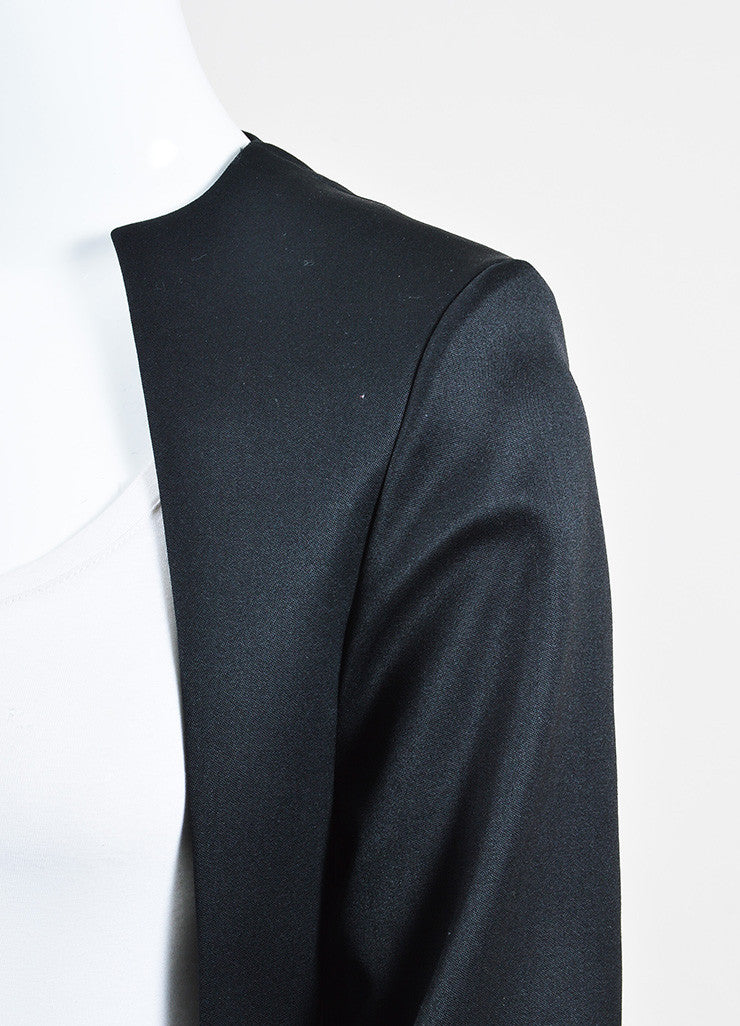 Yves Saint Laurent Black Wool Open Front Topper Long Jacket Detail