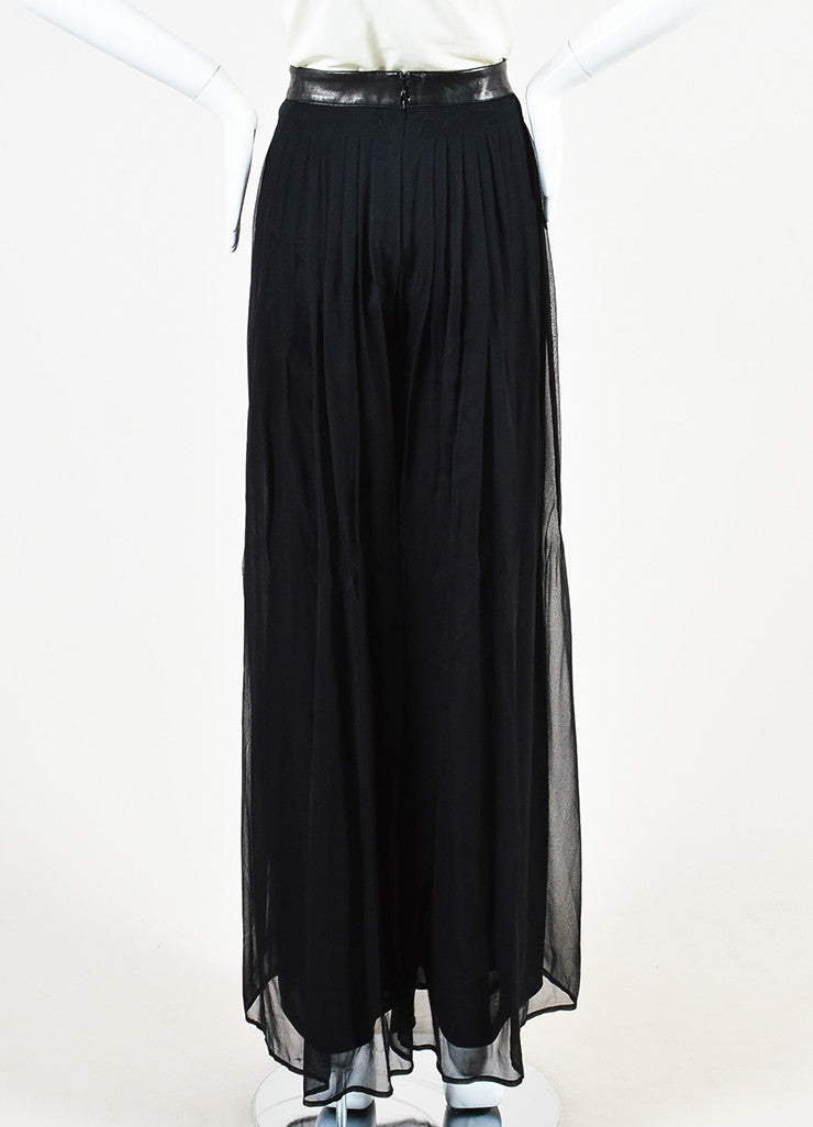 Rag & Bone Black Silk and Leather Sheer Wide Leg Trousers Pants Backview