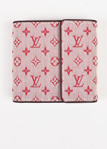 Louis Vuitton Red Maroon Mini Lin Canvas Leather Monogram Snap Compact Wallet Frontview