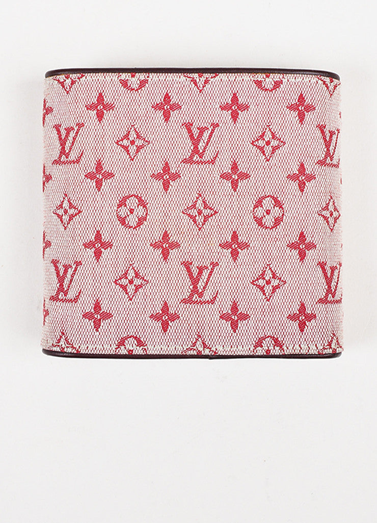 Louis Vuitton Red Maroon Mini Lin Canvas Leather Monogram Snap Compact Wallet Backview