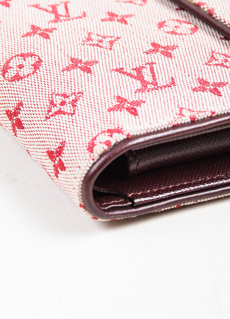 Louis Vuitton Red Maroon Mini Lin Canvas Leather Monogram Snap Compact Wallet Detail
