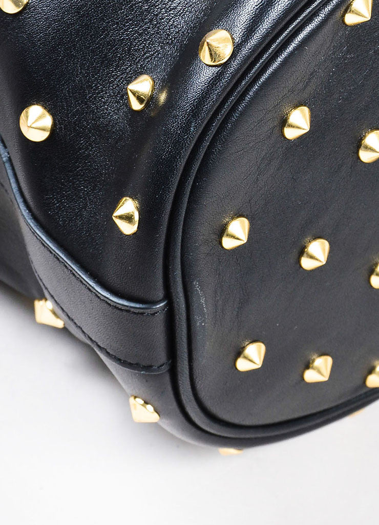Alexander McQueen Black Leather Gold Toned Studded Skull Padlock Bucket Bag Detail