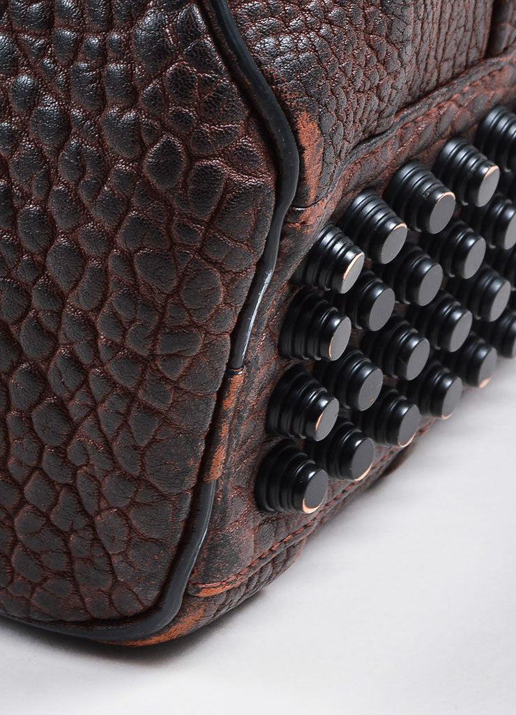 """Raisin"" Maroon Alexander Wang Leather Matte Black Studded ""Rockie"" Duffel Bag Detail"