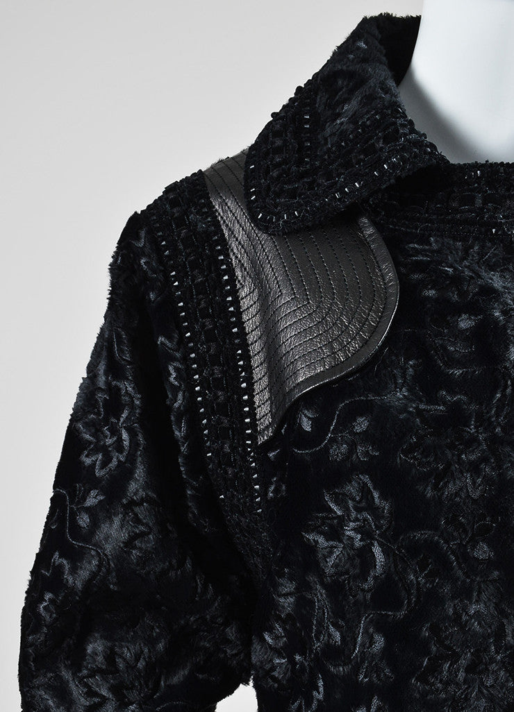 Black Andrew Gn Floral Embroidered Sheared Leather Cuff Jacket Detail