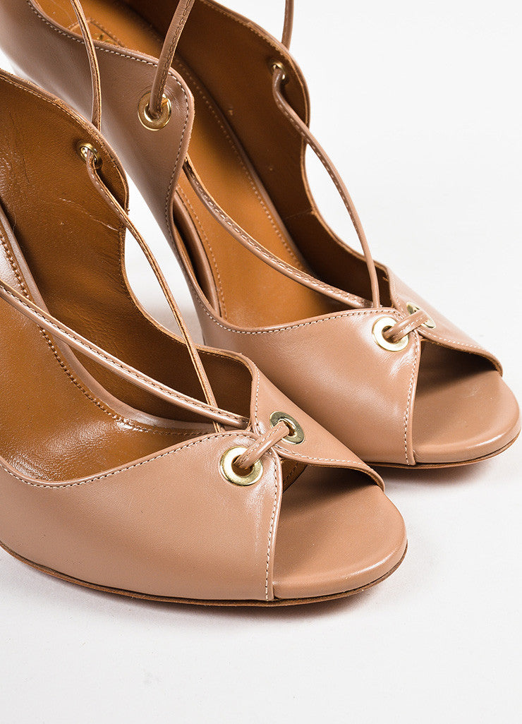"Aquazzura ""Biscotto"" Taupe Leather Lace Up Peep Toe ""Tango"" Sandals Detail"