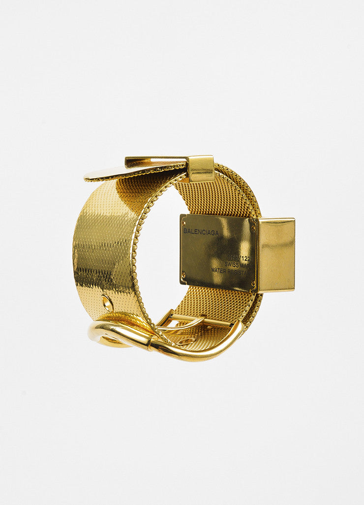 "Balenciaga Gold Toned Wide Mesh Strap Belt Buckle ""Montre Acier"" Quartz Watch Backview"