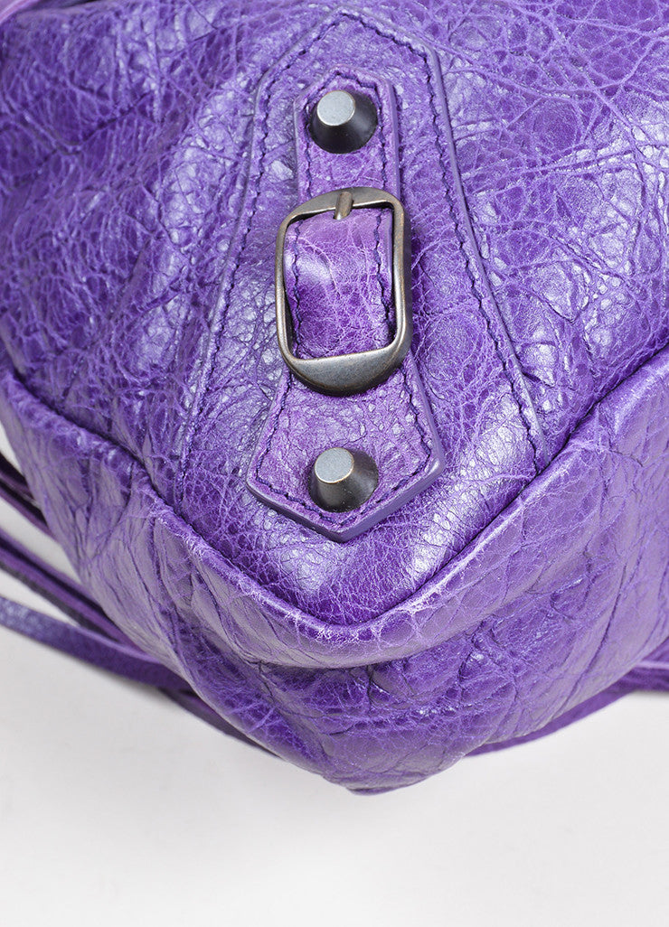 "Purple Balenciaga Leather ""Classic Town"" Moto Bag Detail"