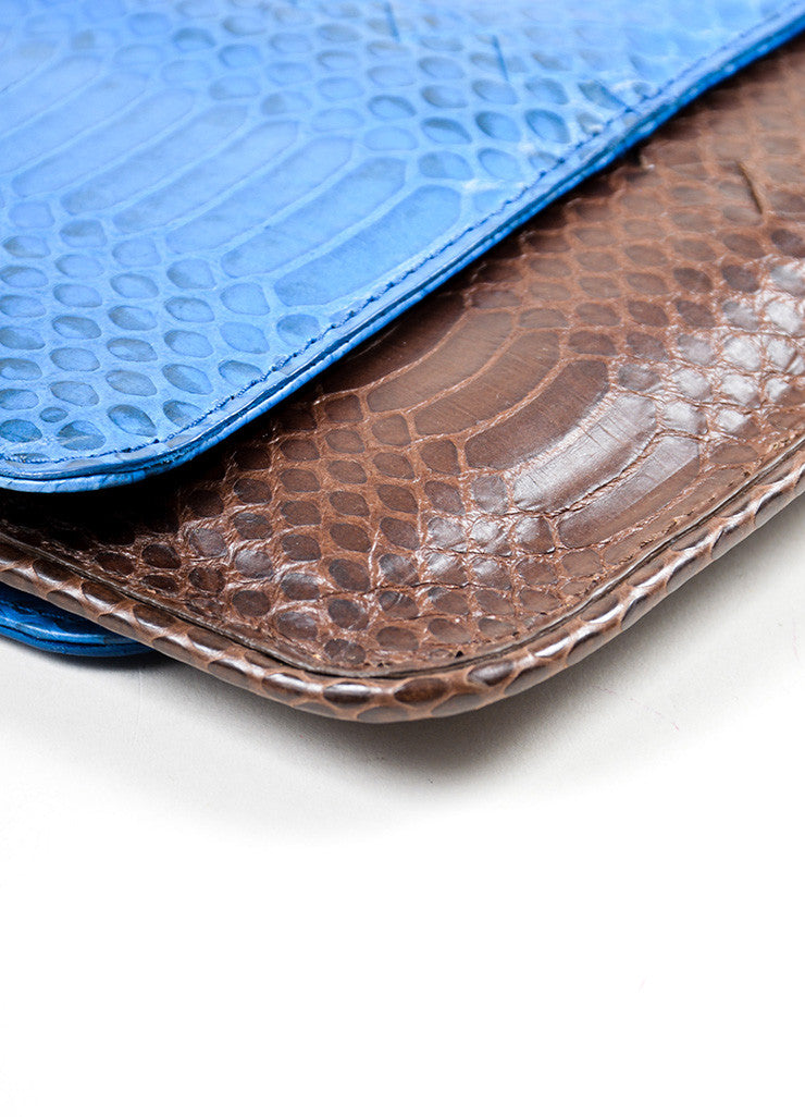 Brown and Blue Bottega Veneta Embossed Leather Frame Envelope Clutch Bag Detail