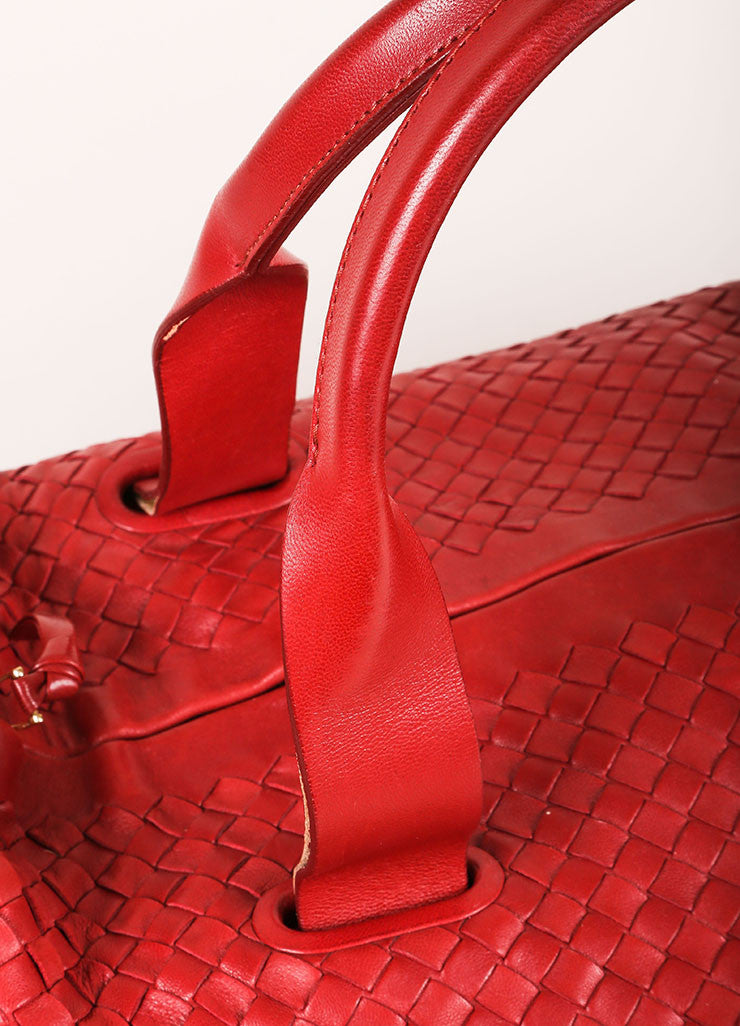 Bottega Veneta Red Leather Intrecciato Duffel Bag Detail 2