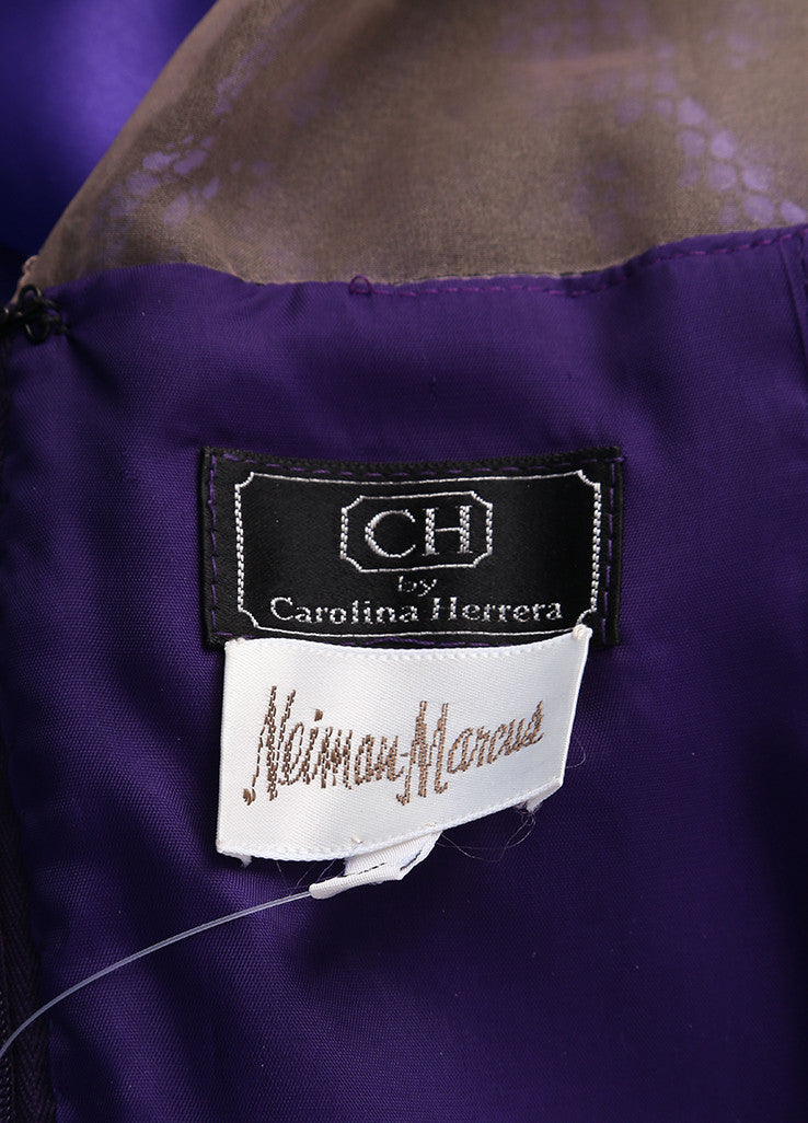 CH by Carolina Herrera Black and Purple Lace and Satin Pleated Long Sleeve Gown Brand