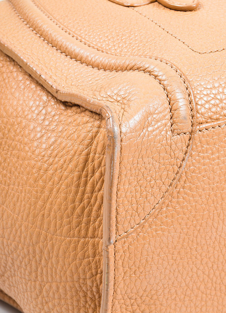 "Taupe Brown Celine Drummed Leather Structured Mini ""Luggage"" Tote Bag Detail"