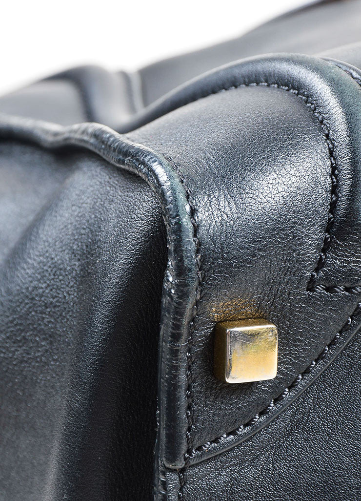 Black Celine Leather Luggage Tote Bag