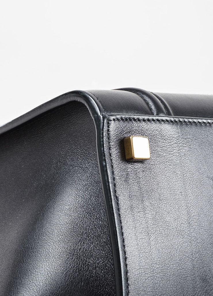 "Black Celine Leather Medium ""Phantom"" Luggate Tote Bag Detail 2"