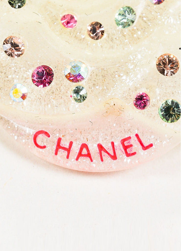 Chanel Clear Lucite and Multicolor Rhinestone Crystal Camellia Flower Pin Brooch Brand