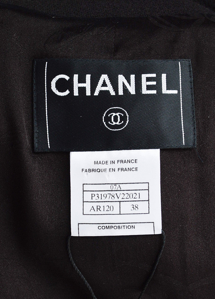 Chanel Deep Brown Wool Crepe and Silk 'CC' Chain Detail Belted Jacket Brand