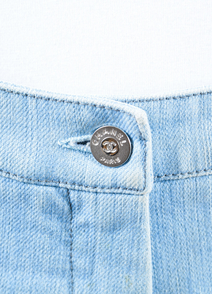 Chanel  Light Blue Wash Denim Pocket Boot Cut Jeans Detail