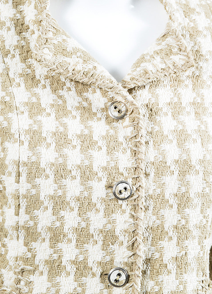 Cream and Taupe Chanel Silk Woven Houndstooth Elbow Sleeve Crop Jacket Detail