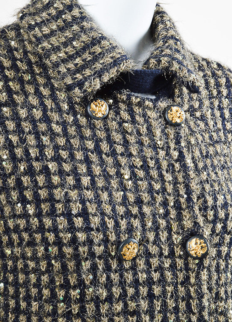 Chanel Gold and Navy Metallic Woven Cashmere Sequin Jacket Detail