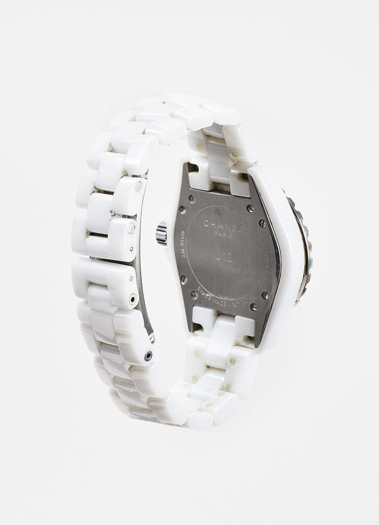 "Chanel White Ceramic Diamond Bezel ""J12"" Quartz Bracelet Watch Backview"