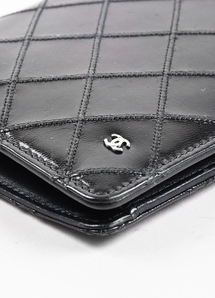 Chanel Black Lambskin Leather Quilted 'CC' Detail Coat Breast Pocket Wallet Detail