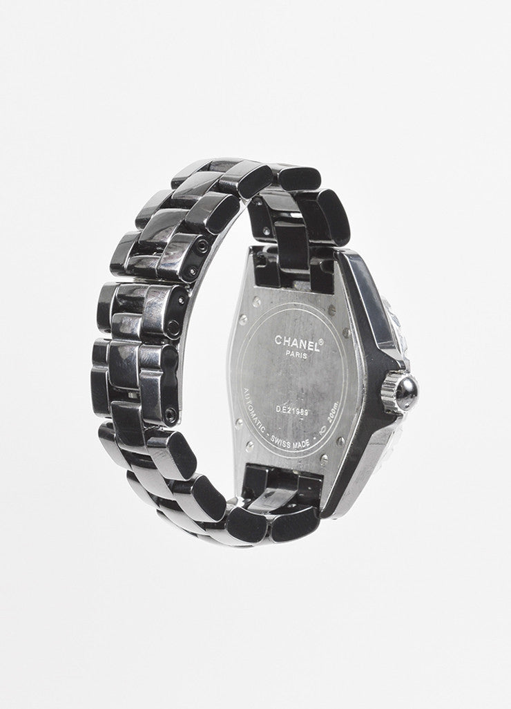 "Chanel Black Ceramic Steel Diamond Accent ""J12"" Automatic Watch Backview"