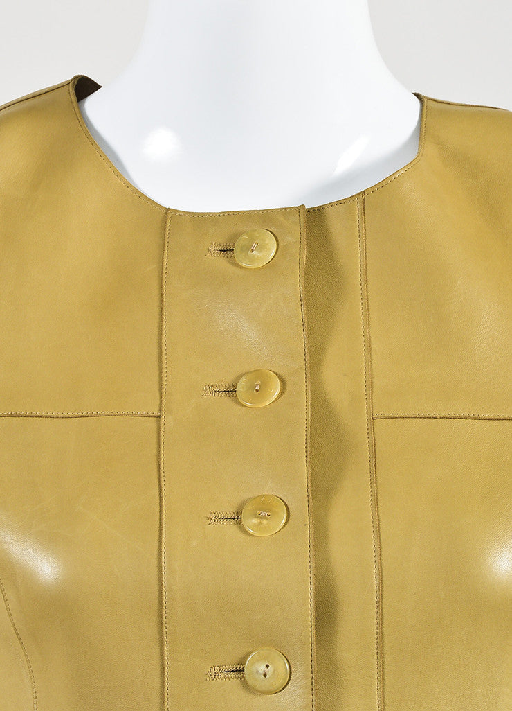 Chanel Tan Lambskin Leather Short Sleeve Button Up Shirt Dress Detail