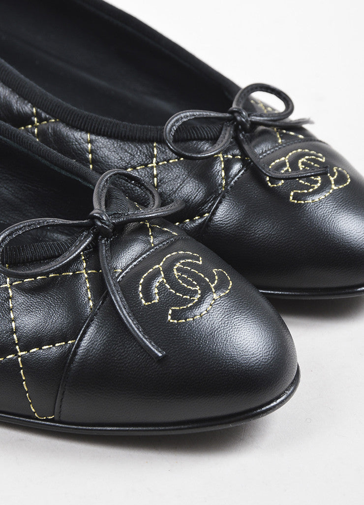 Chanel Black Leather Quilted Gold Tone Stitched 'CC' Cap Toe Ballet Flats Detail