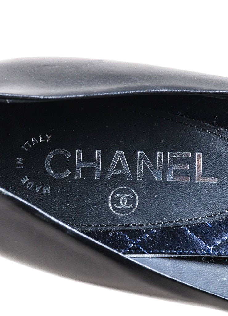 Black Chanel Leather Rhinestone Embellished 'CC' Round Toe High Heel Pumps Brand