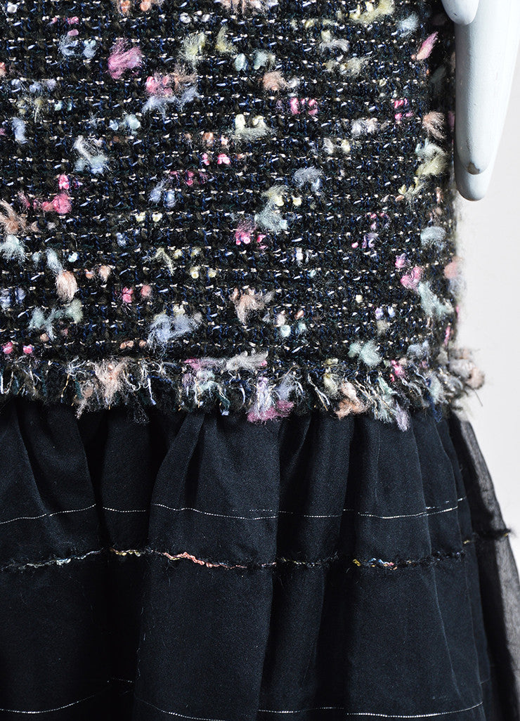 Black and Multicolor Chanel Wool Tweed Ruffled Chiffon Spaghetti Strap Dress Detail