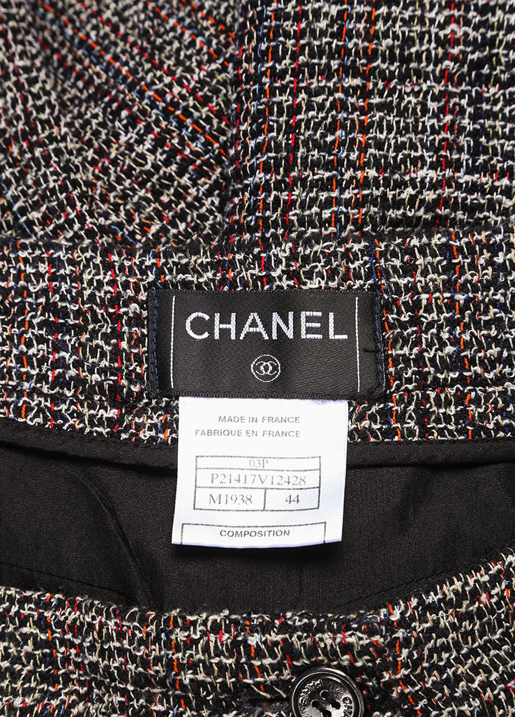 Chanel Black and Red Cotton Blend Tweed Three Piece Pant Suit Brand