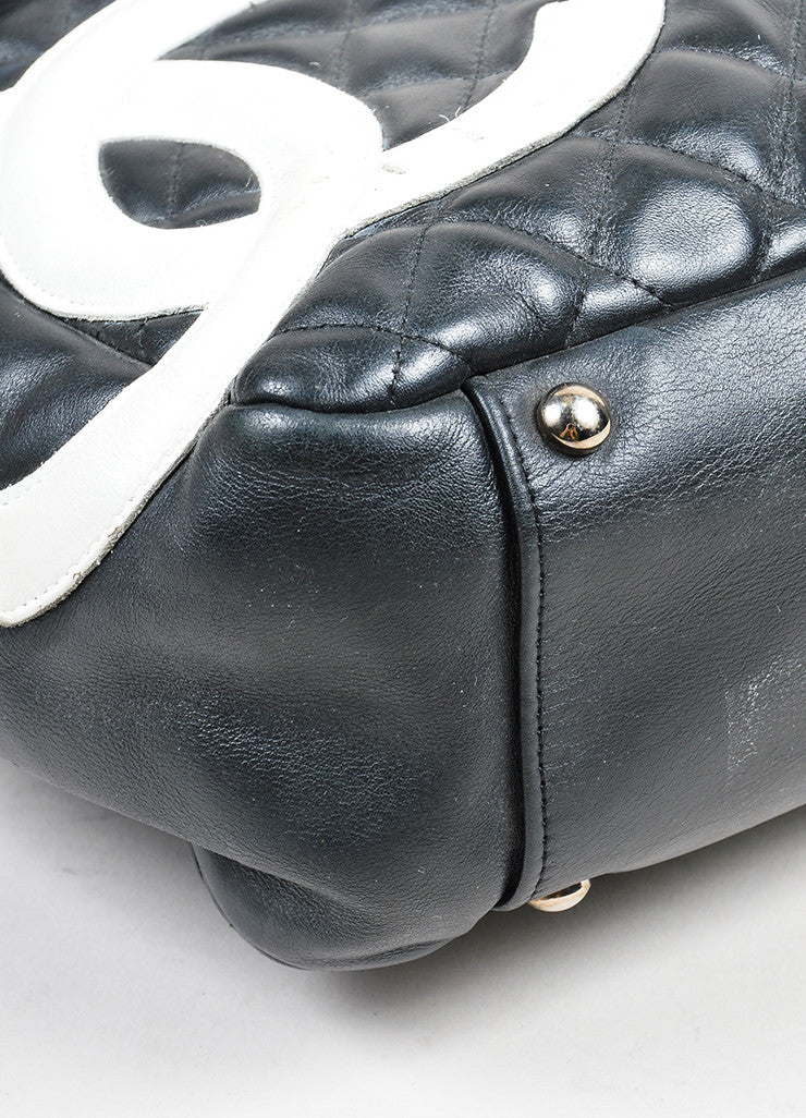 "Black and White Chanel Quilted Leather 'CC' ""Ligne Cambon"" Flap Bag Detail"