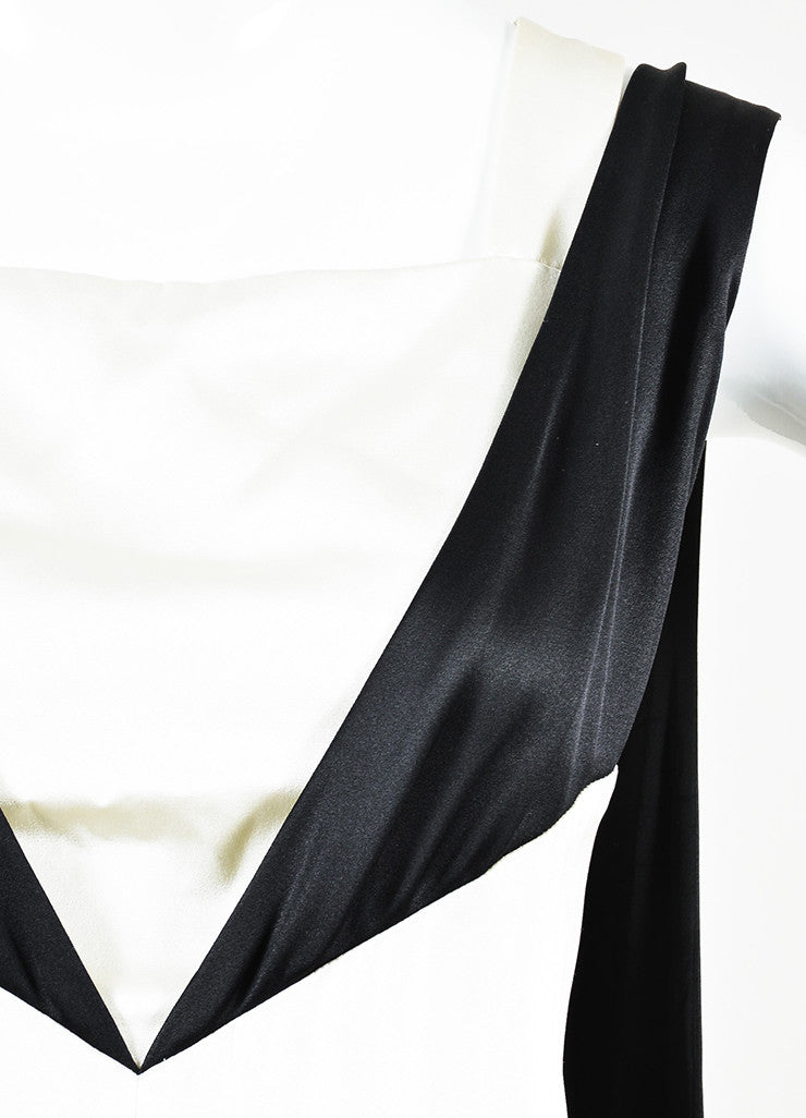 Chanel Black and White Silk Color Block Layered and Triple Split Gown Detail