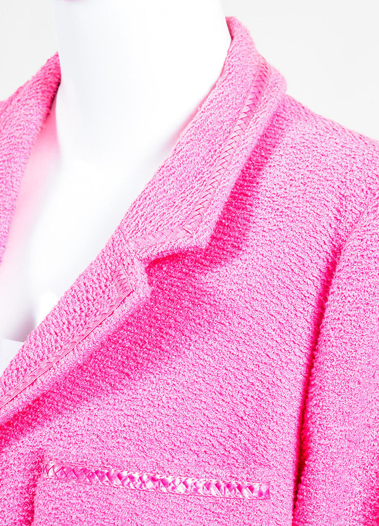 Chanel Bubblegum Pink Pulled Tweed Woven Trim Notch Lapel Jacket Detail