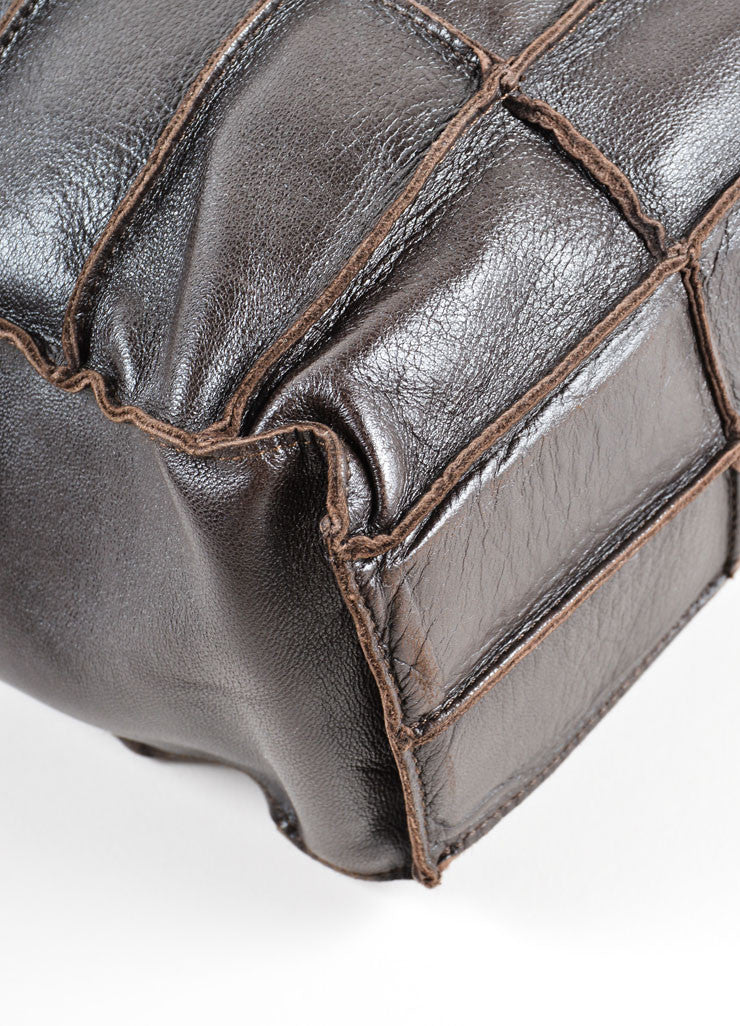 Chanel Brown Leather Quilted Two Strap Tote Bag Detail