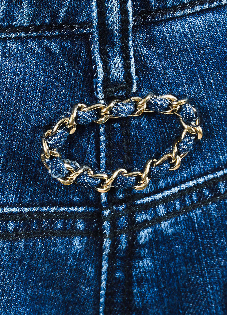 Chanel Denim Blue Top Stitched Knee Four Pocket Straight Leg Jeans Detail